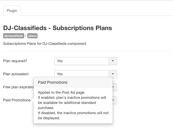 Subscription Plans App plugin